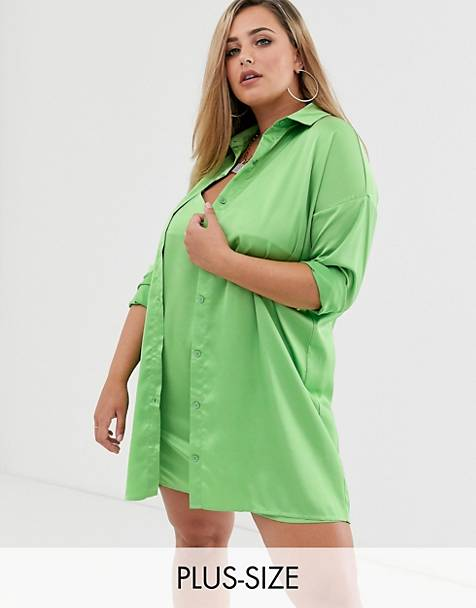 Missguided Plus two-piece satin shirt dress in lime
