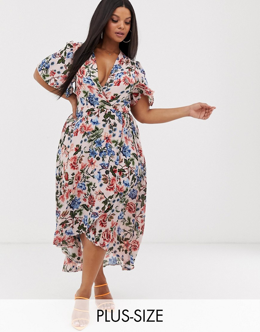 Missguided Plus wrap midi dress in floral print