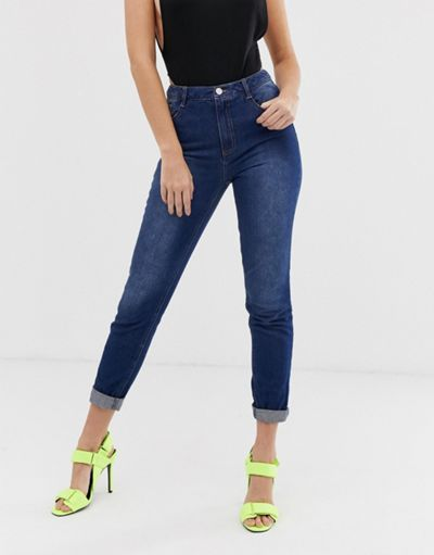 Missguided riot high rise mom jeans in blue