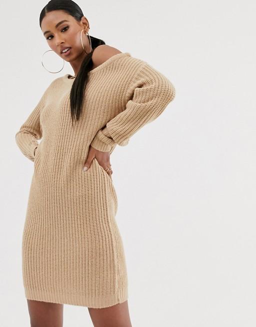 Missguided - Robe pull à épaules dénudées - Sable