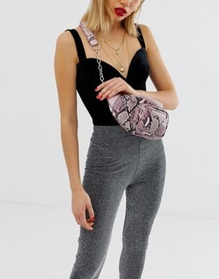 Image 1 of Missguided snake zip detail chain bumbag in pink snake