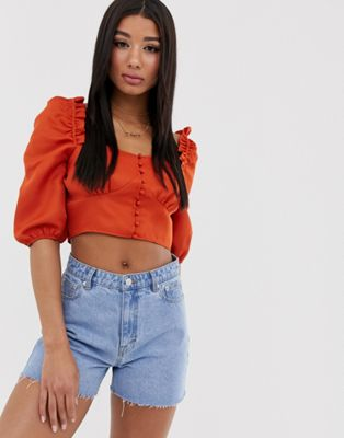 Image 1 of Missguided square neck crop top with puff sleeves in rust