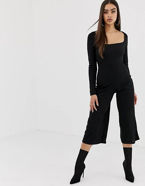dde11999057 Missguided square neck long sleeve ribbed culotte jumpsuit in black