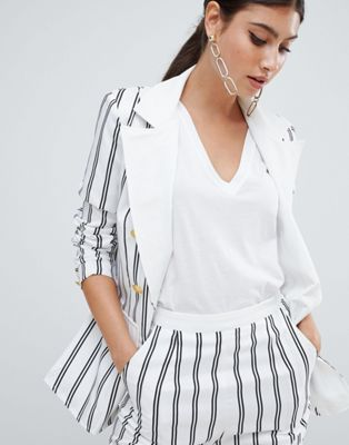 Missguided Stripe Button Detail Blazer