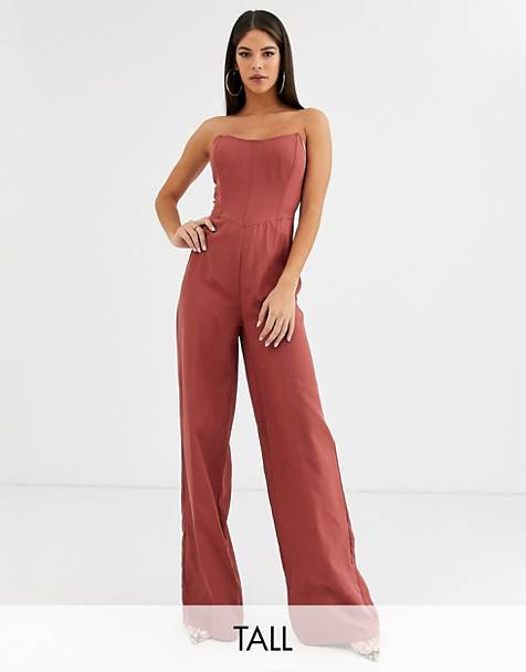 Missguided Tall bandeau wide leg jumpsuit in pink