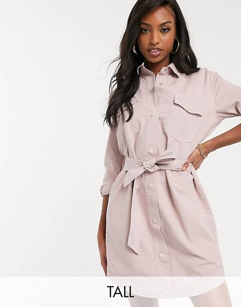 Missguided Tall belted denim dress in blush