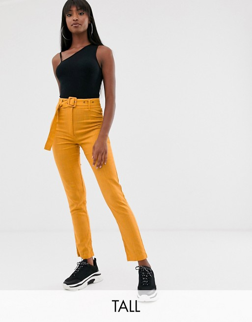 Missguided Tall belted linen pants in mustard