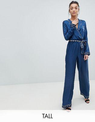 Missguided Tall Contrast Print Pajama Jumpsuit