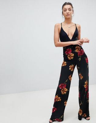 Missguided Tall Floral Wide Leg Trousers