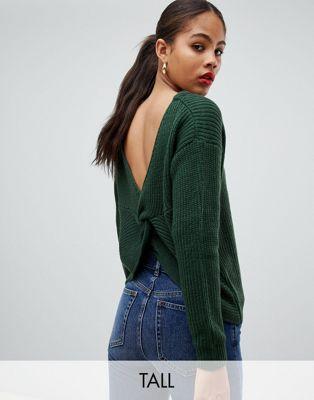 Missguided Tall – grön jumper med snurrad del bak