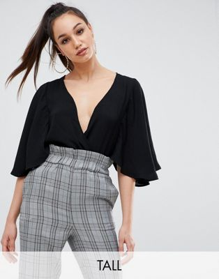 Missguided Tall kimono cape sleeve plunge body in black