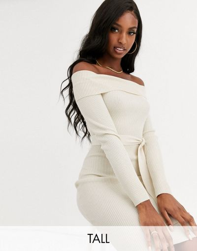 Missguided Tall knitted bardot midi dress with belt in cream