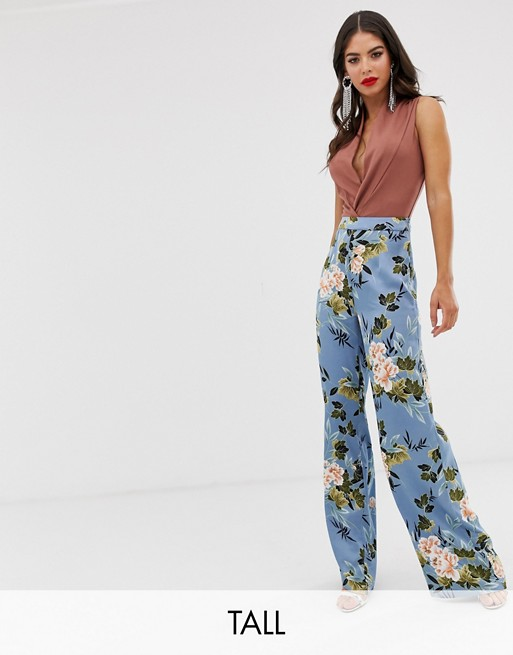 Missguided Tall - Pantalon large en satin à fleurs