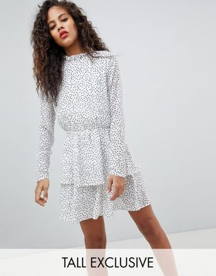 Missguided Tall Polka Dot Tiered Dress