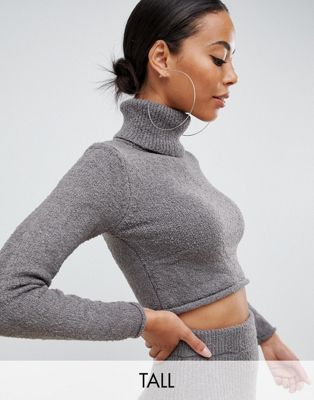 Image 1 of Missguided Tall roll neck sweater two-piece in gray