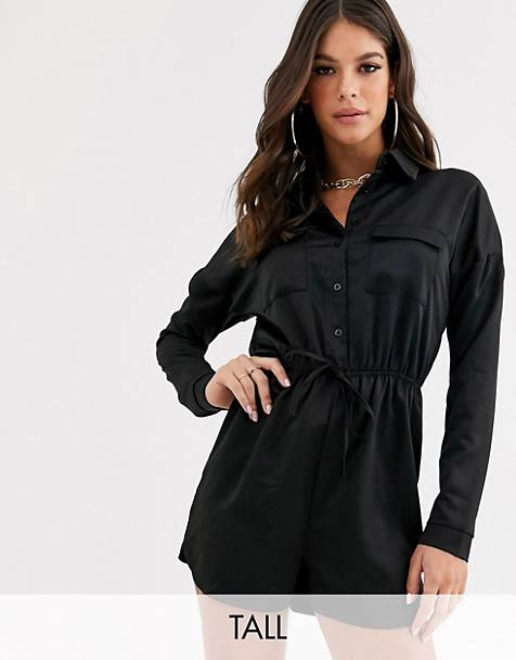 Missguided Tall satin drawstring romper in black