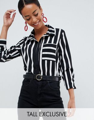 Missguided Tall shirt in mono stripe