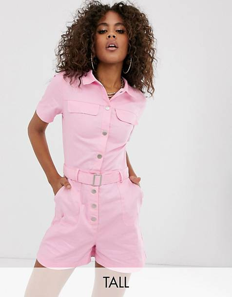 Missguided Tall utility romper in pink