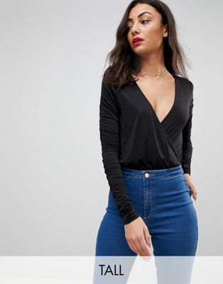 Missguided Tall Wrap Front Slinky Plunge Body