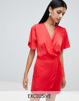 Missguided Tie Waist Wrap Dress