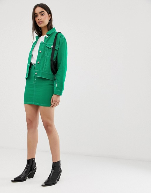 Image 1 of Missguided two-piece denim mini skirt in green