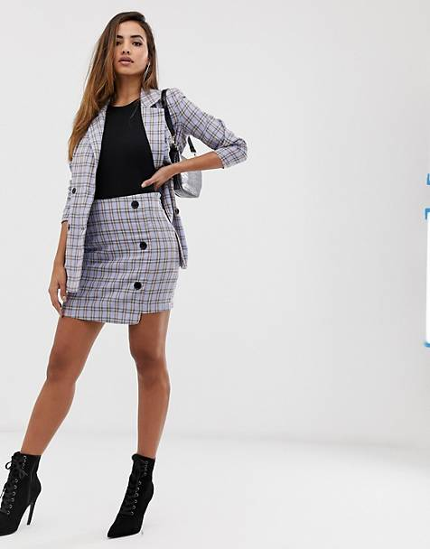 Missguided two-piece mini skirt in blue check