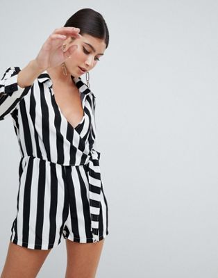 Missguided Wrap Front Stripe Playsuit