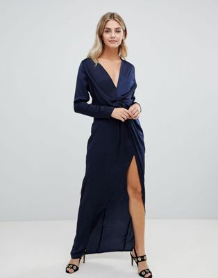 Missguided wrap satin side split maxi dress in navy