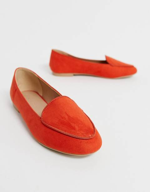 Mocasines en naranja llamativo con ribetes de New Look