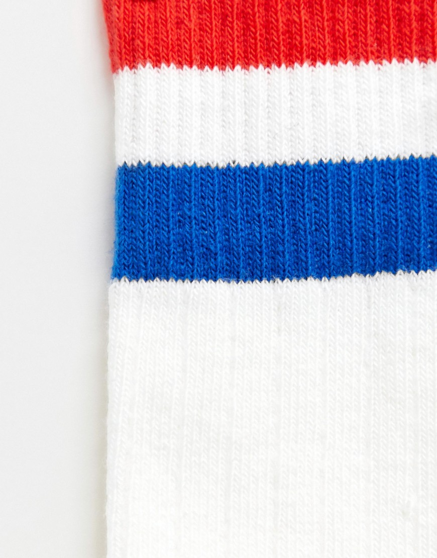 Monki Ankle Socks With Red & Blue Stripe In White by Monki