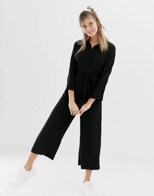 Monki belted wide leg jumpsuit in black