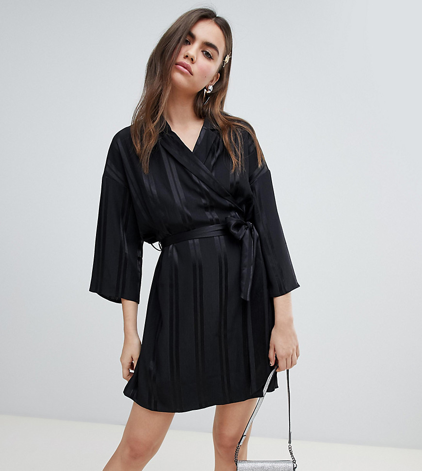 monki belted wrap dress in black
