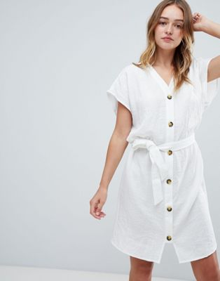Monki Button Front Cotton Dress
