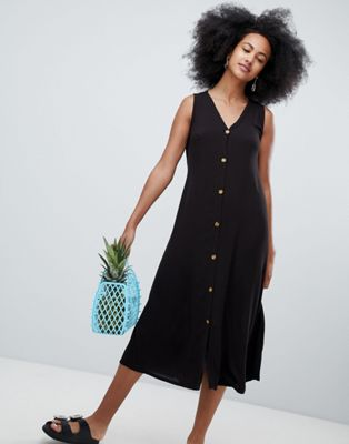 Monki Button Front Midi Dress