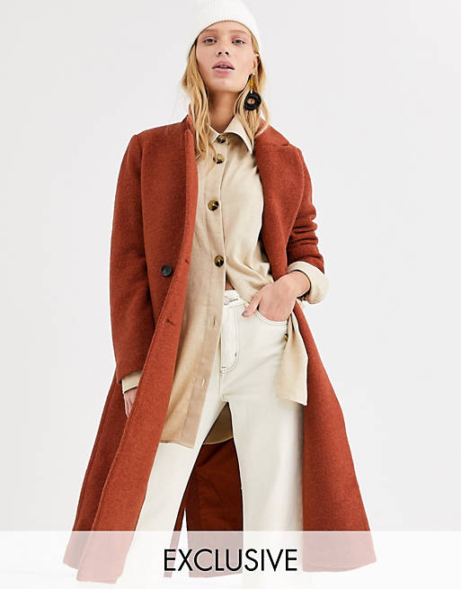 Monki - Cappotto midi sartoriale ruggine