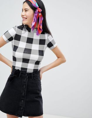 Monki Check High Neck Tee