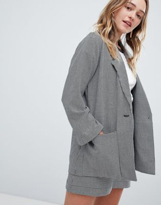 Monki Check Tailored Blazer Co-Ord