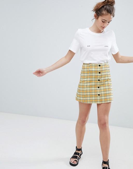 Monki checked mini button up skirt in yellow