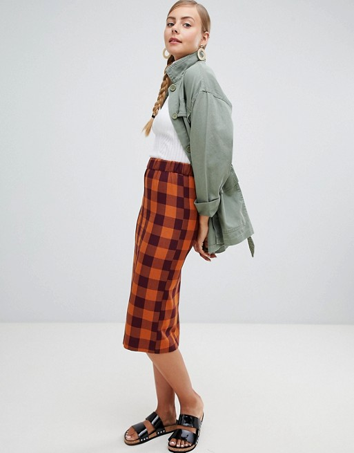 Monki Checked Tailored Midi Skirt