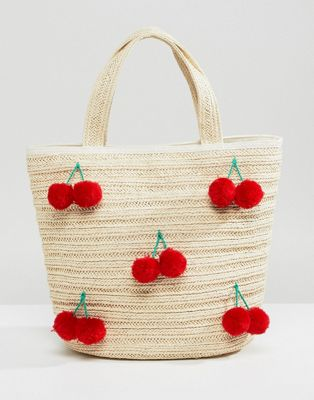 Monki cherry straw bag in Beige