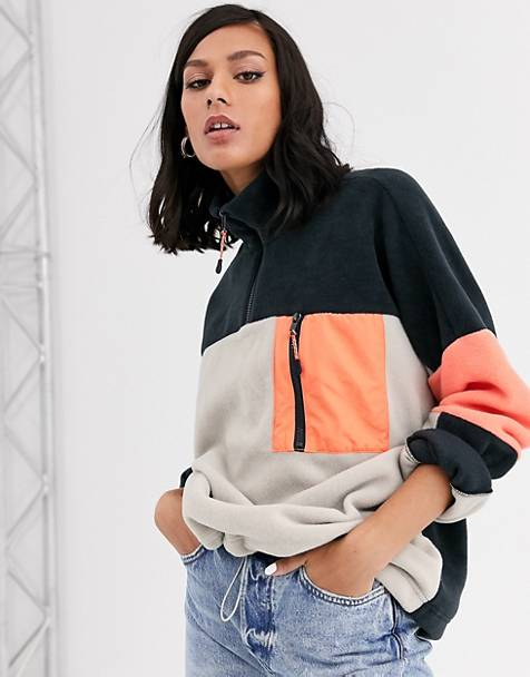 Monki color block zip neck fleece sweater in multi