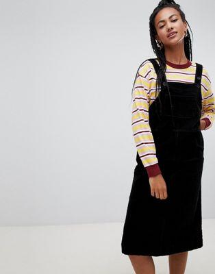 Monki cord midi pinny dress in black