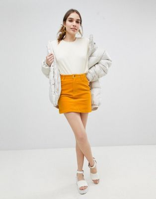 Image 1 of Monki Cord Mini Skirt in Mustard