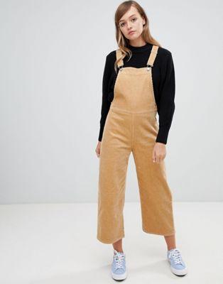 Image 1 of Monki cord wide leg overalls in beige