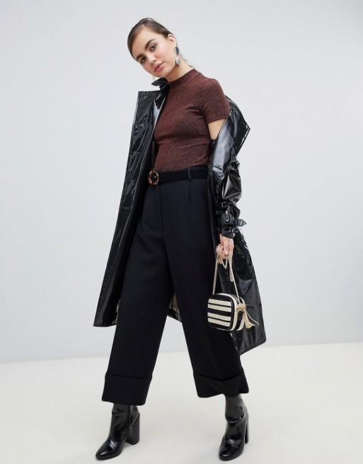 Image 1 of Monki cropped tailored pants in black