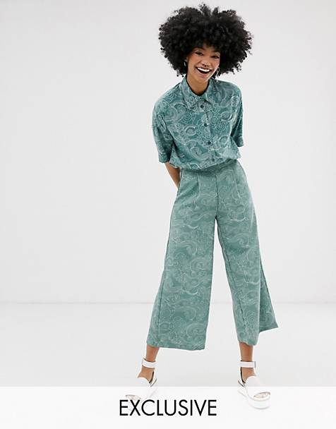 Monki cropped wide leg pants with elastic waist and cloud print in turquoise