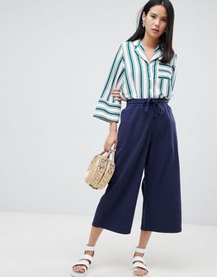 Monki Denim Wide Leg Culottes