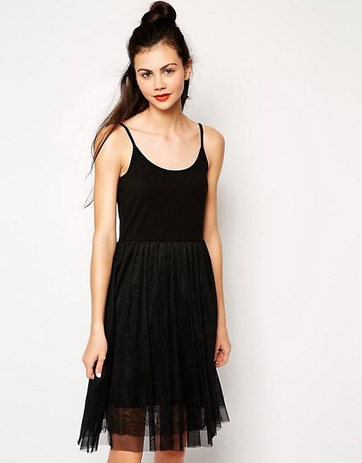 Monki Dress With Tulle Skirt