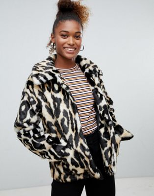 Image 1 of Monki faux fur leopard print jacket in brown