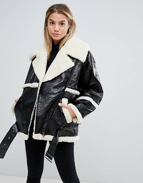 Monki faux sherling coat